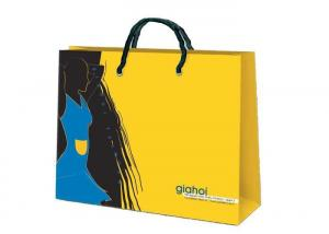 China yellow / black / blue promotional paper bags , paper grocery bags with handles on sale