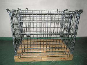 China Galvanized Metal Mesh Containers Foldable Steel Mesh Cage With Wood Pallet on sale
