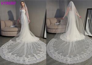 China Long Soft Lace Ivory Wedding Veils / 3D Flowers Edging Muslim Bridal Veil 5 Meters on sale