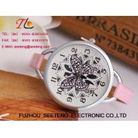 Colorful leather band butterfly customize dial fashion ladies watch