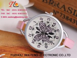 China Colorful leather band butterfly customize dial fashion ladies watch on sale