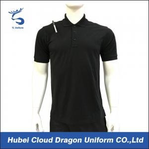 China 200 Gsm Short Sleeve Security Guard T Shirts Pique Black Work Shirt Breathable on sale