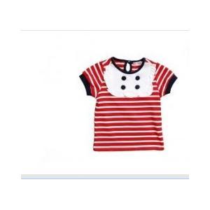 China Le doux rayé rouge et la peau touchent les pièces en t courtes de graphique de T-shirts de garçon d'enfant en bas âge de bébé de douilles on sale