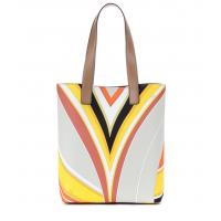 Color Strip Printed Shoulder Bag Women Tote Bags in Big Size Mag Snap Opening with Double Zip Pockets Inside 2910*32 cm