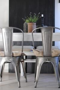 industrial contemporary tolix metal dining chairs with gunmetal