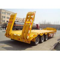 Low-bed Semi Trailer low bed Truck 3 Axles 60Tons 15m lowbed trailer for Loading construction machine