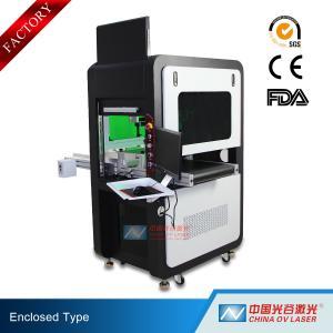 China High Precision Big Enclosed Fiber Laser Marking Machine 100W with Conveyor on sale