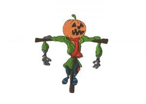 China Twill Custom Halloween Stickers , Pumpkin Scarecrow Iron On Patches Embroidered Patch on sale