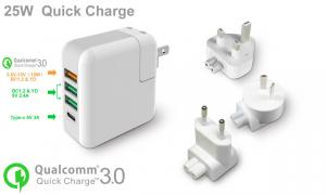 China Worldwide 5V 5A Type C Adapter / USB Wall Charger ABS With PC Material on sale