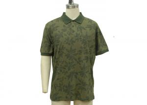 China Mint / Lime / Dark Green Mens Polo T Shirts Wash Pique Maple Leaf Allover Print on sale