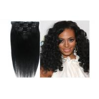 China Natural Balck Grade 7A Virgin Clip In Hair Extensions , Straight Human Hair Weaving on sale