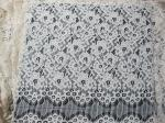 Eyelash Corded Lace Fabric White Floral / Nylon Rayon Heavy Lace Material
