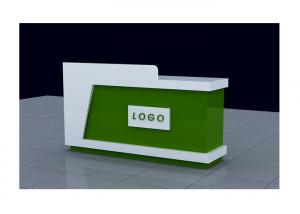 Quality White And Green Retail Checkout Counter Freestanding Movable For Shopping Mall for sale