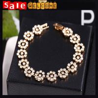 Golden Silver Full Diamond Crystal Rhinestone Plant Flower Beads Bracelets Bangle Jewelry