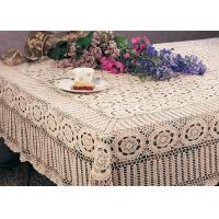 Creme Cotton Rectangular Crochet Table Cover Washable Hand Crocheted Table Cloth