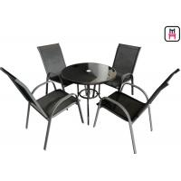 Coffee Shop Outdoor Restaurant Tables Textilene Garden Furniture With Arm Chairs
