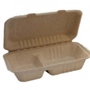 China Caja biodegradable de Clamshel del compartimiento de la pulpa 1000ml 2 de la caña de azúcar del bagazo del color de la naturaleza on sale
