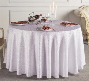 China Custom White Wedding Linen Tablecloths / Decorative Round Table Covers on sale