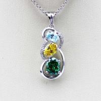 Fashion Sterling Silver Jewelry Mix Cubic Zircon  Three  Stones Pendant(PSJ0388)