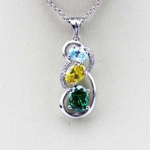 China Fashion Sterling Silver Jewelry Mix Cubic Zircon  Three  Stones Pendant(PSJ0388) on sale