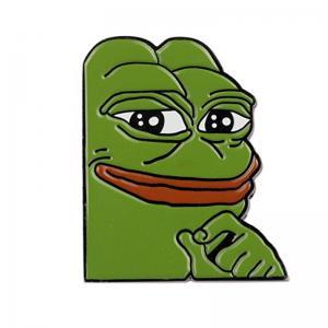 China Smug Frog Pepe Custom Lapel Pin on sale