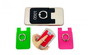 China Cell Phones Silicone Credit Card Holder Durable With Grip Finger Metal Ring on sale