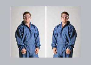 China Dark Blue Disposable Protective Coverall Tyvek Material Customized Logo on sale