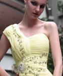 Vestido de noite maduro de Beadings do ombro elegante do comprimento um do assoalho/vestido 30569 das damas de honra