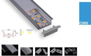 China LED Strips Aluminum Profile double line led chips Surface & Recessed Mounted Clear/Semi Clear/Opal Matte cover on sale