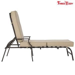 China French Style Patio Chaise Lounge Chair , Beige Outdoor Chaise Lounge Chairs on sale