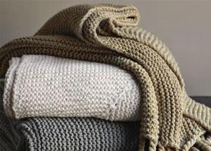 China OEM Spring Autumn Knitted Wool Blanket For Sofa / Bedding Set on sale