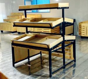 China 3 Tiers Collapsible Metal Wooden Display Rack For Retail Shop ISO9001 on sale