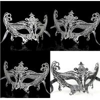 China Hot Sell Wholesale Luxury Sex Appeal Black Metal Laser Cut Masquerade Mask With Rhinestone on sale