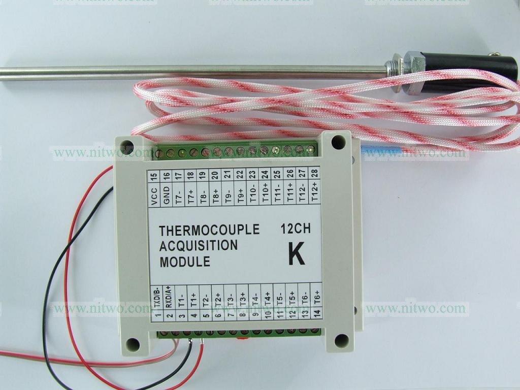 Temperature Module 12AI K type thermocouple RS485 Modbus Temperature ...