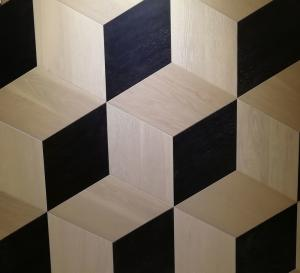 China oak parquet tiles, artistic parquets, black & white stained, 3D showing on sale
