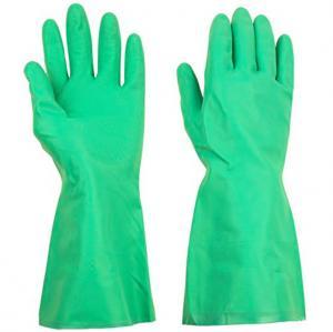 China Green Reusable Long Household Rubber GlovesOil Resisitance 33cm / 45cm Length on sale