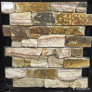 China Yellow Sandstone Meshed Back Cultured Wallstone For Landscape Decor on sale