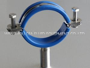 China SS304 Stainless Steel Pipe Clip Loose With Blue PVC Insert In Sanitary Produce Line on sale