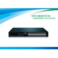 12G Fiber Optic Managed Switch 2 SFP 1000 BASE - Fx 24 10 / 100 / 1000 BASE - Tx Fiber Switch No SFP