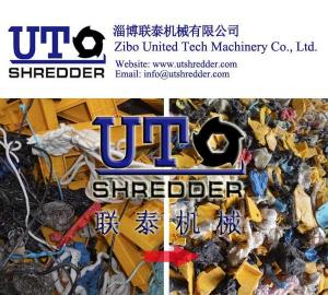 China plastic block shredder, big plastic block recycling, waste plastic crusher, single shaft shredder on sale