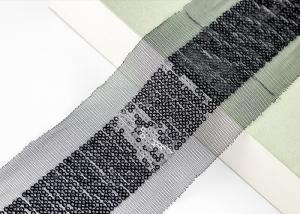 China Shiny Sequin Embroidery Nylon Mesh Lace Trim For Fashion By Schiffli Lace Machine on sale
