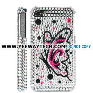 China Butterfly Diamond Rhinestone Bling Hard Case for iPhone 4 iPhone 4S (Silver) on sale