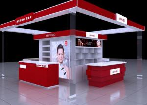 China Shopping Mall Cosmetic Display Stand , Red Color Retail Cosmetic Display Cases on sale
