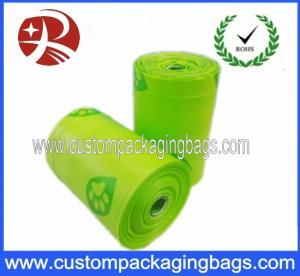 China Compostable Green Dog Poop Bags Biodegradable With Side Gusset on sale