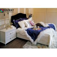 Luxury High End White Wood Single Beds Bedroom Furniture , Eco Friendly Fashion Bed