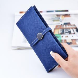 China Belt Buckle Ladies Long Type Leather Clutch Wallet With Thin Body Simple Design on sale