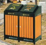Powder Coated Outdoor Site Amenities / Commercial Trash Cans With Double Drums