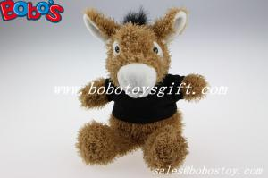 China 7.9Custom Plush Brown Donkey Animal With Black T-shirt on sale
