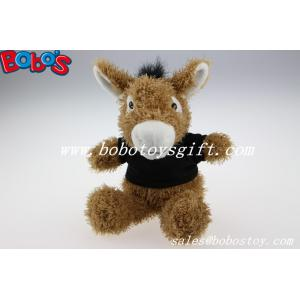 China 7.9Custom Plush Brown Donkey Animal With Black T-shirt on sale