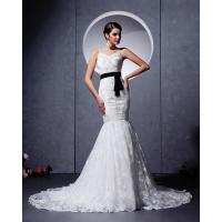 Elegant court train Appliques sash wedding dress / V neck wedding bridal gowns